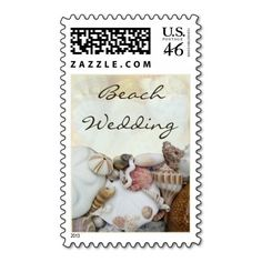 Beach Wedding, Shell Border Postage Stamps