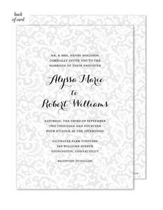 Announce your Wedding in style with this beautiful invitation featuring a white lace overlay design. Back of card is printed with same lace design. This stylish design is expertly printed on luxurious heavyweight paper. Blank envelopes included. A portion of the proceeds from the sale of this product will be donated to breast cancer research and education.