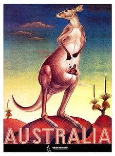 australia,outback,kangaroo,aussie,uluru,tourism,antique,poster,travel,marsupial,ephemera,retro,vintage australia,australian travel,vintage travel poster,australian tourism,kangaroo art,vintage kangaroo