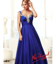 Mac Duggal 2014 Prom Dresses - Royal Blue & Silver Rhinestone Ruched Cap Sleeve Corset Back Gown - Unique Vintage - Prom dresses, retro dresses, retro swimsuits.