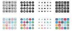 54 Beautiful Free Social Media Icon Sets For Your Website Social Media Icons For Business Cards Street Marketing, Social Icons, Social Networks, Ios 7 Design, Design Design, Design Stand, Social Media Buttons, Exhibition, Vector Shapes