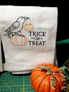 Kitchen Flour Sack/Happy Halloween Black Crow, Trick or Treat/ 100% Natural Cotton/Tea Towel by Heartmadelinensgifts on Etsy