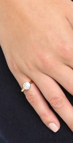 Fiji Diamond Button Ring, Rose Gold Vermeil on Silver Monica Vinader