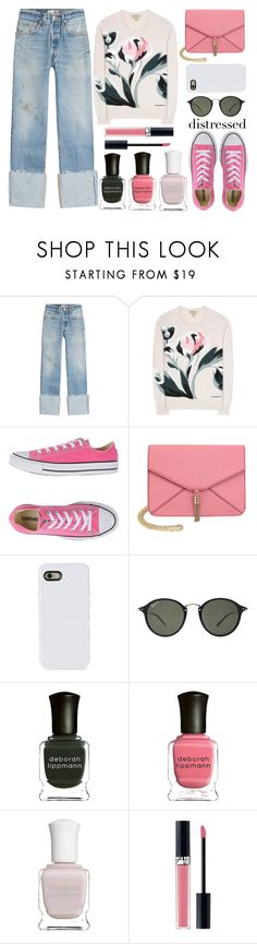 """""""distressed denim - top set 1/21/17"""" by juliehalloran ❤ liked on Polyvore featuring RE/DONE, Burberry, Converse, Olivia Miller, LMNT, Ray-Ban, Deborah Lippmann and Christian Dior"""
