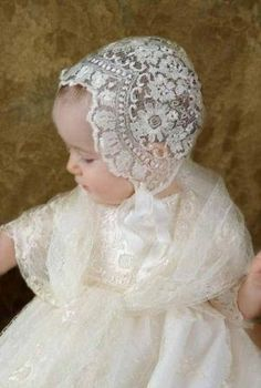 """Ivory Embroidered Lace Bonnet """"One small child"""" (company) Christening bonnet Baby Girl Baptism, Baptism Dress, Christening Gowns, Baptism Outfit, Baby Girls, Antique Lace, Vintage Lace, Baby Bonnets, Linens And Lace"""