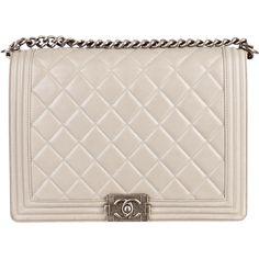Pre-owned Chanel Large Boy Bag (101 000 UAH) ❤ liked on Polyvore featuring bags, handbags, shoulder bags, purses, chanel, bolsas, grey, grey purse, gray purse and handbags purses