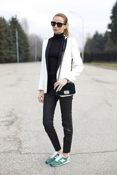 Styling New Balance Sneakers with a white blazer.