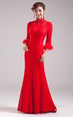 Lace Fishtail Cheongsam / Qipao / Chinese Wedding Dress