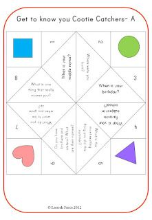 The Lesson Cloud: FREE Get-to-know-you Cootie Catchers for Back-to-School!