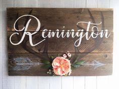 rustic reclaimed vintage custom personalized wood woodland deer antlers and arrow flower girl nursery room sign by FIONA LOUISE