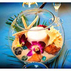 I like tropical touches. Great for luau beach wedding. Beach Wedding Centerpieces, Beach Wedding Flowers, Flower Centerpieces, Centerpiece Ideas, Table Centerpieces, Fishbowl Centerpiece, Tropical Centerpieces, Luau Wedding, Wedding Table