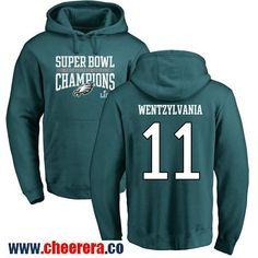 #11 Carson Wentz Green Nike NFL Super Bowl LII Champions Philadelphia Eagles Pullover Hoodie Wentzylvania