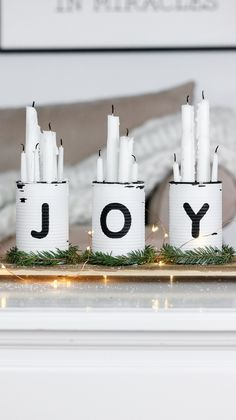 Last Minute Rustic Christmas Centerpiece check this one out! Takes only 30 minutes to make and involves upcycling tin cans with the words JOY on them! Rustic Christmas, Winter Christmas, Christmas Time, Christmas Ornaments, Primitive Christmas, Scandinavian Christmas, Christmas Christmas, Centerpiece Christmas, Xmas Decorations