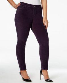 Style & Co. women's Plus Size Velvet Skinny Pants Dark Grape Purple size 18W