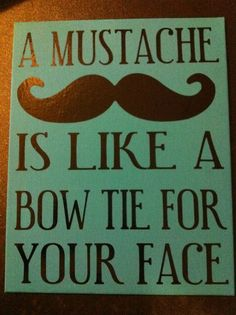 A mustache is a bowtie for your face!