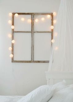 Salvaged Window Frame & Twinkle Lights