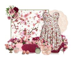 """""""pink floral pattern"""" by caribea ❤ liked on Polyvore featuring OKA, Élitis, Jayson Home, Allstate Floral, Calvin Klein, Gianvito Rossi, Arabel Lebrusan, Pier 1 Imports, Dot & Bo and women's clothing"""