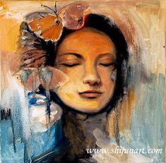 """Dream butterfly"" 12x12""2018 © Shijun Munns #love #Peace #Portrait #Artist #Dream #wake #butterfly #ShijunArt www.shijunart.com Original Paintings, How To Memorize Things, Butterfly, Peace, The Originals, Portrait, Artist, Headshot Photography, Artists"