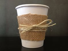 Burlap, Lace and Twine Paper Cups for a Wedding Shower, Wedding, Baby Shower or Birthday (Set of 20). Perfect for Coffee and Hot Chocolate. $53.00, via Etsy.