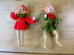Pixie Twins, 50s Christmas by OurVintageHouse on Etsy