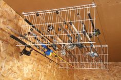 Use dowel rods or metal rods instead of fishing poles to make a drying rack and/or place to hang clothes just out of the dryer.