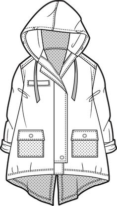 Summer_parka - Best Fashions for All Clothes Draw, Drawing Clothes, Technical Illustration, Illustration Mode, Technical Drawings, Design Illustrations, Fashion Design Template, Fashion Pattern, Flat Drawings