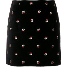 Alexa Chung floral mini skirt (18.795 RUB) ❤ liked on Polyvore featuring skirts, mini skirts, black, flower print skirt, floral printed skirt, short mini skirts and floral skirts