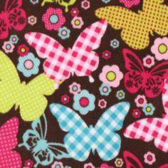 Glacier Gingham Butterfly Brown Fleece Fabric