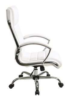 "INSPIRED By Bassett - Ellis Chrome Executive Chair in ""White"" Product No: BP-ELCX-U11"