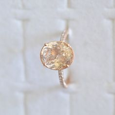 3.5 ct Champagne peach sapphire in a 100 diamonds micro pave fine quality setting, engagement ring  P701