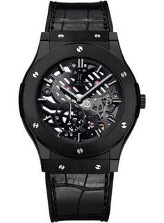 Hublot Classic Fusion Ultra-Thin Skeleton Black Ceramic (Style No: 515.CM.0140.LR) from SwissLuxury.Com