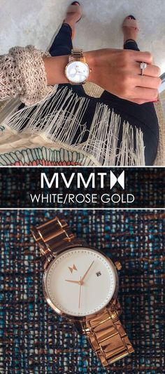 We believe style should be inspired by creative spirit and the freedom to express yourself. The MVMT Watches initiative is to offer classic minimalist designs with a twist of elegant chic flavor, all at a revolutionary price. This White Rose Gold watch wo Look Fashion, Fashion Beauty, Autumn Fashion, Woman Fashion, Street Fashion, High Fashion, Fashion Tips, Mvmt Watches, Elegant Chic