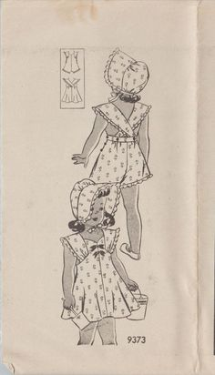 Vintage 1940s Mail Order Sewing Pattern 9373 / Childs Playsuit And Bonnet…