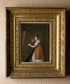 Empress Josephine (de Beauharnais), Empress of France Tuning her Harp French School National Trust Inventory Number 1180786 Collection Powis Castle and Garden, Powys Empress Josephine, Napoleon Josephine, Regency Gown, Miniature Portraits, French School, Old Paintings, Woman Painting, National Trust, Miniatures