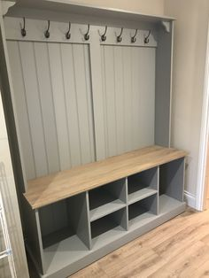 Our Boot Room Benches are the perfect way to keep organised. A versatile, practical and elegant solution for any hall, utility room, boot room or kitchen. The solid oak seat doubles houses plenty of storage space for all your boot room bits and pieces. Porch Storage, Boot Room, Hallway Seating, Mudroom Design, Hallway Designs, Home Decor, Utility Rooms, Room Design, Utility Room Designs
