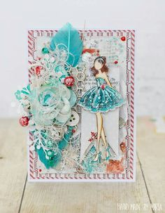 Card by Marta Piekarczyk Prima Paper Dolls, Prima Doll Stamps, Scrapbook Paper Crafts, Scrapbook Cards, Julie Nutting, Book And Frame, Card Creator, Shabby Chic Cards, Paper Dolls Printable