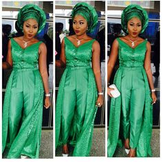 How Fashionista's Rocked the Emerald Green Aso Ebi Lace To #BOY2015