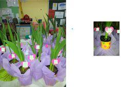 après la plantation d'un glaïeul (que l'enfant a fait en jardinage), décorer d'un coeur plastifié avec au recto la photo de l'enfant et au verso son prénom qu'il a écrit lui même!! le pot de fleur n'est autre qu'une simple boite de conserve peinte à l'acrylique décorée avec de coeurs qu'il a fait à la perforeuse. Effet garanti !!