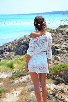 Dress: cream/white, crochet, one shouldered beach white white knit crochet white lace beach wear