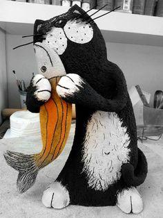 Handmade Ceramic, Cat Sculpture, Pottery Cat, Black Cat, Art decor, Animal sculpture, Home Decoration, Handmade Clay Cat, Fun Cat