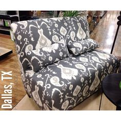 Gray Ikat Settee $299.99 So perfect for an apt or second seating area. #homegoodsobsessed #homegoods