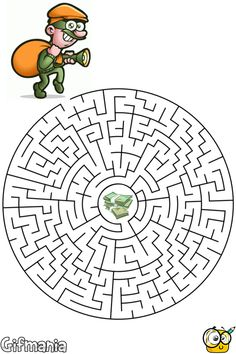 thief maze activity page Mazes For Kids Printable, Diy For Kids, Crafts For Kids, Maternelle Grande Section, Maze Worksheet, Homeschool Worksheets, Maze Puzzles, Maze Game, Handmade Tags