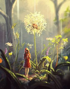 RARE New Thumbelina dandelion fantasy by Artyakov Russian modern postcard Art And Illustration, Art Illustrations, Arte Digital Fantasy, Photo D Art, Art Anime, Fairytale Art, Anime Scenery, Claude Monet, Fantasy Artwork