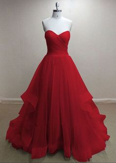Prom Dresses,Party Dresses,Pretty Handmade Tulle Red Sweetheart Long Prom Dresses, Red Prom Gowns, Tulle Formal Dresses0000112 by dresses, $169.00 USD