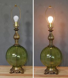 Vintage Table Lamp / Green Glass Lamp / by naturalstatevintage