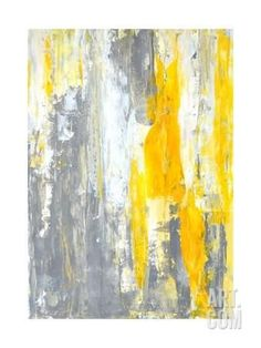 Grey and Yellow Abstract Art Painting Art Print by T30Gallery at http://Art.com