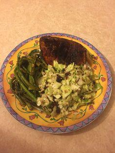Tangy apple crisp salad with candied pumpkin squash and sautéed asparagus