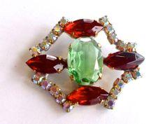Red & Green Rhinestone Button Czech Beading DIY by CrimsonVintique, $12.00