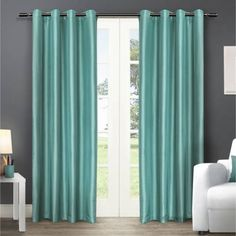 Exclusive Home Chatra Grommet Top Window Curtain Panels, Indigo, Set of 2, 54 inch x 96 inch, Blue