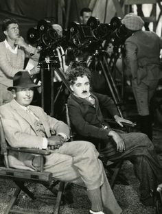 "Chaplin & best friend Douglas Fairbanks on the set of "" Circus "" 1927."